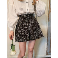 mini flower culotte pants black