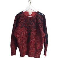 leopard design knit red