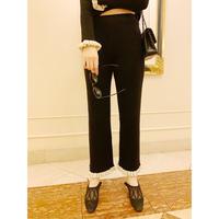 rib knit frill pants black