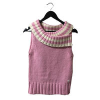courrèges  neck border design knit pink