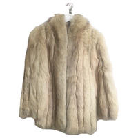 real rabbit fur coat pink beige