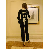 【Special price】lace up ribbon frill rib knit set up black