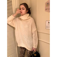 high neck low gauge knit ivory