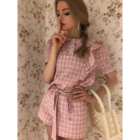check frill blouse pink
