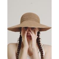 ribbon wide sun visor caramel beige