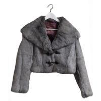 gray rabbit fur coat