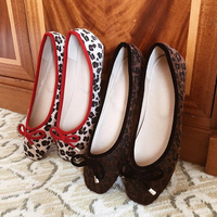 leopard ribbon ballet shoes