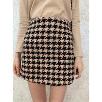 tweed  beige×black check mini skirt