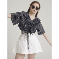 dot frill design blouse black