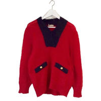 bi color knit red