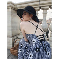 back lace-up gingham flower dress