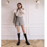 wool check short pants gray