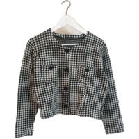 check flower botton knit cardigan