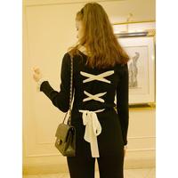 lace up frill rib knit tops black