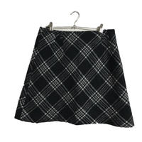 monotone  wool check skirt