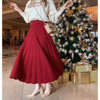 volume knit long skirt red