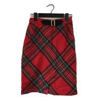 belt check design skirt red