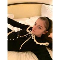 frill collar pearl knit cardigan black×ivory