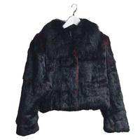 black & red rabbit fur coat