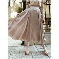 dot satin volume skirt beige
