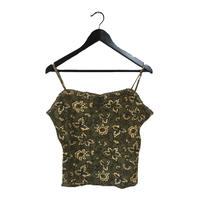flower design thermal camisole khaki
