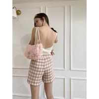 wool check short pants pink