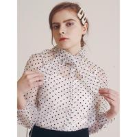 see-through dot blouse white