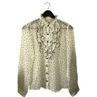 Heart design chiffon frill blouse