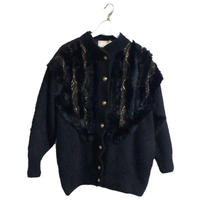 fur knit gold design blouson