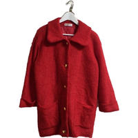 red knit  long coat