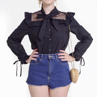 see-through dot ribbon blouse black