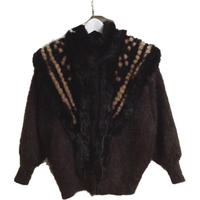 knit fur design coat brown