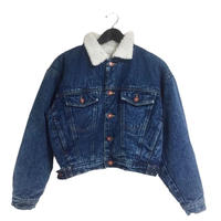 boa fur denim blouson