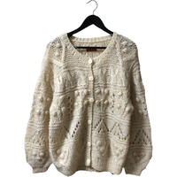 pon pon cable knit design cardigan