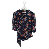 dot flower blouse