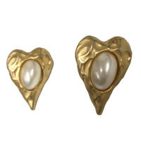 gold heart motif  vintage earring(No.4048)