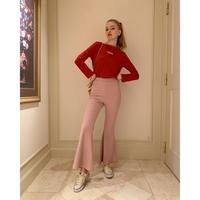 rib knit bell  pants baby pink