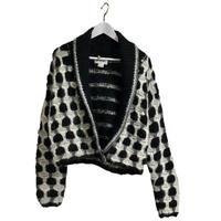 monotone design knit blouson