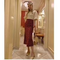 velours flower mermaid skirt red