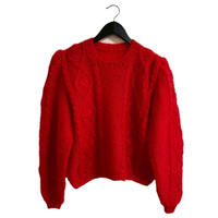 flower design arm volume cable knit  red