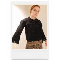 lace-up ribbon design knit black