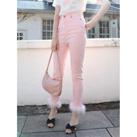 épine skinny denim baby pink×ivory fur
