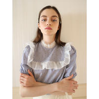dot stripe see-through frill blouse blue