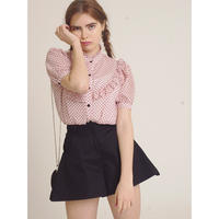 heart see-through frill blouse pink