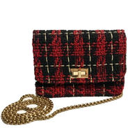 tweed chain bag red