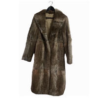 fur long coat beige