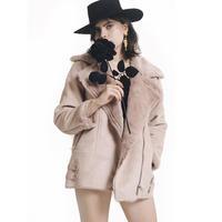mouton fur coatdusty pink