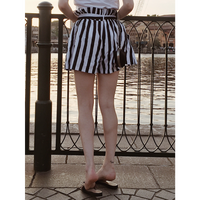 stripe short pants black