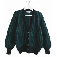 tweed design knit cardigan green