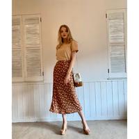 dot flower straight long skirt brown